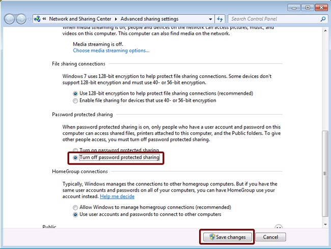 how to turn off network sharing password